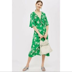 Topshop Green Floral Leaf Ruffle Tea Midi Dress